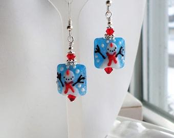 Snowman Earrings, Snowman Lampwork Glass Earrings, Christmas Earrings, Snowman Beads, White Blue Red Glass Earrings, Winter Snow Earrings