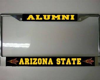 Arizona State University Alumni Pitchfork Logo Chrome License Plate Frame