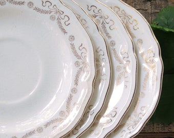 Knowles Gold White Saucers Set of 4 Wedding China Replacement China