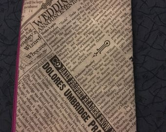 """Wizard Newspaper-zipper pouch- """"government official pranked"""""""