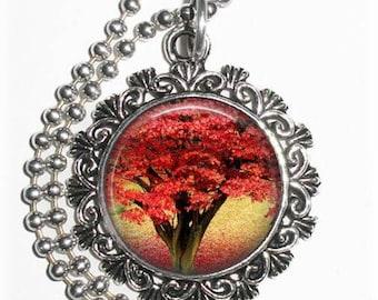 Flamboyant Tree Art Pendant, Fire Tree Resin Art Pendant, Photo Pendant