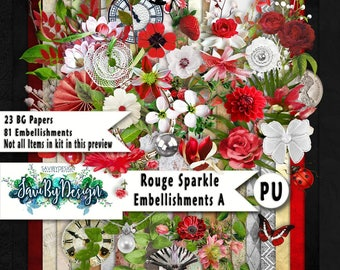 Digital Scrapbooking ROUGE SPARKLE red, sparkles and lots of floral and greenery suitable for vintage and modern Scrap Pages