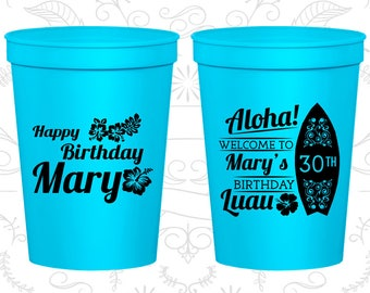30th Birthday Party Cups, Cheap Party Favor Cups, Luau Birthday Cups, Aloha Birthday Cups, Birthday Party Cups (20136)