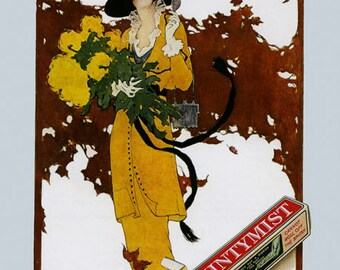 Dentist Fashion Girl Lady with Yellow Flowers Mintymist Dental Ribbon Absolutely Delicius Vintage Poster Repro Free S/H in USA