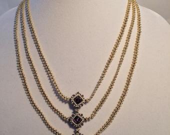 Three-Strand Beaded Necklace by Lyuda