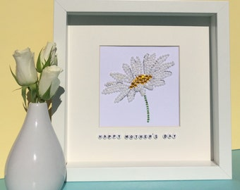 Personalised daisy artwork - Mother's Day gift - gift for her - everlasting flowers - Thank you gift - Birthday present