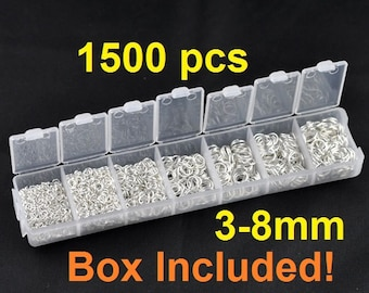 Box with Assortment of 1500pcs Silver Plated Open Jump Rings- 3mm to 8mm