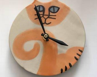 "Wall decor clock: Grey points Blue eyed Kitty Cat 5.5"" decor handmade whimsical feline theme designer kitty art Pottery Pet resort art"