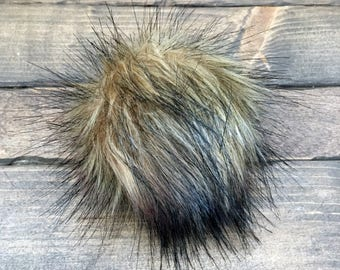 Faux Fur Pom Poms in Grizzly- Two Sizes