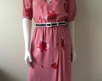 Vintage Women's 80's Striped Dress, Red, White, Floral, Short Sleeve (XS/S)