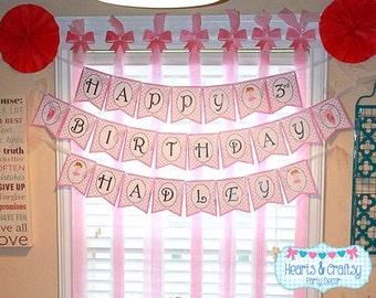 Ballet Happy Birthday Banner / Pink Dance Birthday Party / Girl Birthday - FILE to PRINT DIY