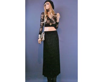 black velvet skirt velvet burnout skirt burnout velvet dress skirt vintage 90s skirt 90s goth skirt velvet maxi skirt 90s grunge skirt women