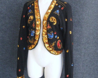 Vintage 80s Sequin Sweater Black Cardigan Beaded + Sequined, Jewel Tones + Gold, Lined Lambswool Angora, I Did It By Matthew H, Bust 36