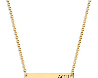 Alpha Omicron Pi Sorority Bar Necklace / Alpha Omicron Pi Necklace / Sorority Necklace / Sorority Gift / Big Little Gift / Sorority Jewelry