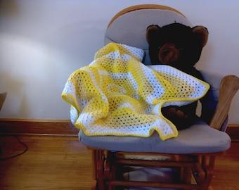 Hexagon Baby Blanket- Bright Yellow, Baby Yellow, White
