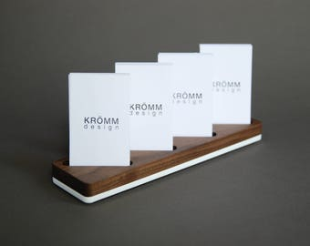 Wood Card Stand for Four Vertical Business Cards / Walnut Wood and Acrylic Card Holder / Wooden Vertical MOO Business Card Holder