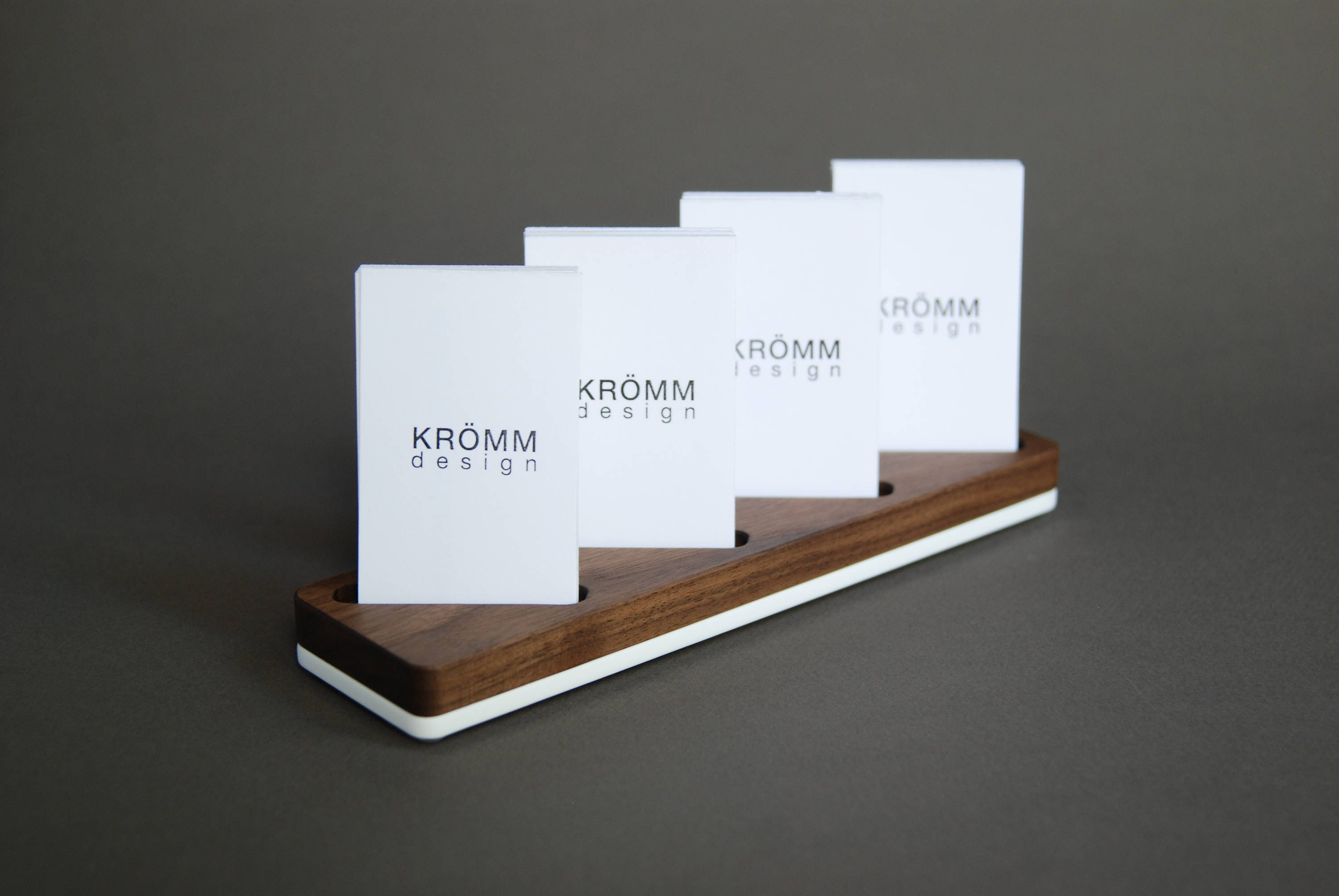Wood Card Stand for Four Vertical Business Cards / Walnut Wood and ...