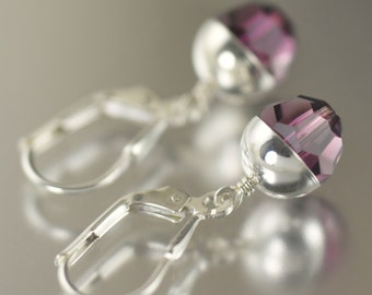 February Birthstone earrings Amethyst earrings purple earrings Swarovski crystal earrings dangle earrings  gifts for her