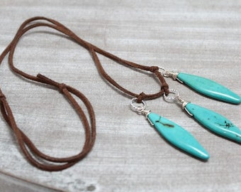 NEW! Suede leather necklace with turquoise, adjustable, long necklace, womans, boho, rocker, gipsy, lissie design, silver, Free shipping