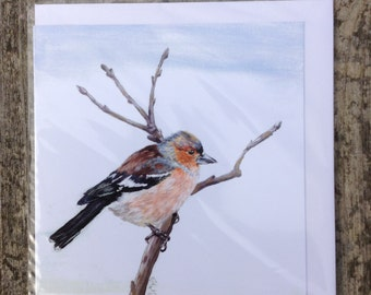 Chaffinch blank greeting card from an original acrylic painting
