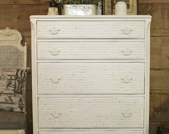SOLD | Antique white shabby chic chalk painted distressed dresser, white upcycled  tallboy dresser, shabby chic bedroom furniture