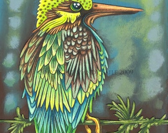 """Beautiful Bird 9 - an 8 x 10"""" ART PRINT of a proud and vivdly coloured Emerald green bird with turquoise blues like clear tropical waters"""