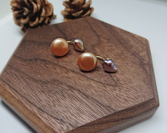 Baroque Pearl Earrings / Orange Pearl Earrings / Coin Pearl Earrings
