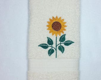 Sunflower Hand Towel, Embroidered Sunflower Towel, Fall Towel, Fall Decor, Sunflower, Personalized Hand Towel, Bathroom Towel, Kitchen Towel