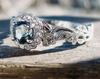 Natural Alexandrite Engagement Ring in 14K White Gold with Diamonds in Vintage Style Vine Setting Size 5