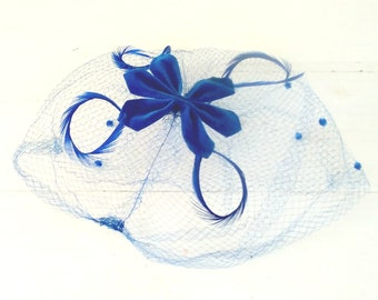Bright Blue Birdcage Veil/Blue Feathers/Hair Net/Whimsy Hat/Fascinator/1960s Retro/Blue Velve/Excellent Condition/lindafrenchgallery