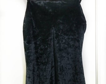 Black velvet spaghetti strap midi dress