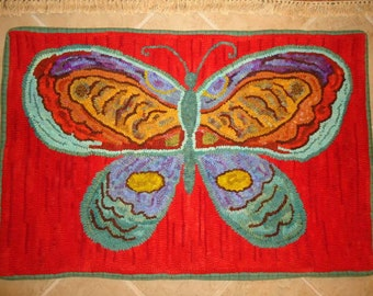 Large red BUTTERFLY rug hooking pattern on primitive linen