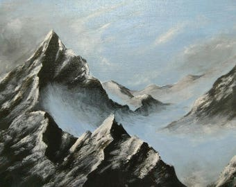 Mountains in the clouds - Acrylic Original Painting