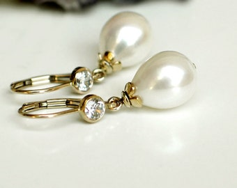 Teardrop Pearl Earrings | White Rose Freshwater Drop Pearl | CZ 14k Gold Filled Leverback Dangles | Birthday | Mother's Day | Ready to Ship