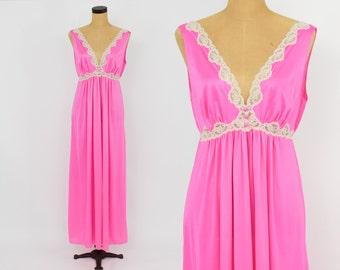 70s Hot Pink Long Nightgown | Kayser Lingerie | Medium