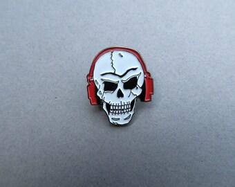 Rock Skull Pin with Headphones - Enamel Pin, Lapel Pin