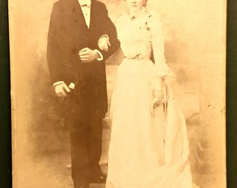 Charming Antique French Wedding Cabinet Card by Emile Serrot Photo Studio of Creil, France