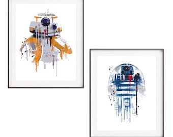 Star Wars droid cross stitch pattern BB-8 R2D2 Modern Watercolor cross stitch Counted Cross stitch chart home decor Nursery