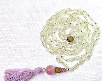Mantra Mala, Prayer Beads, 108 Mala, Prenhnite Mala, Hand Knotted Mala, Crystal Mala Necklace, Mala Beads, Sacred Jewelry