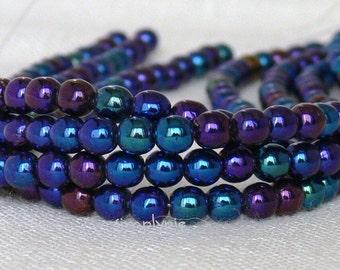 4mm Round Czech Glass Beads Metallic Iris Blue 50