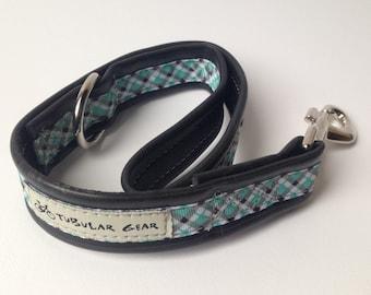 Dog leash city lead- turquoise plaid