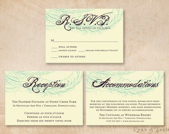 Printable Wedding Enclosure Cards - 3.5x5 - Spencerian Peacock - R.S.V.P. Response Reception Accommodations Lodging Other Cards
