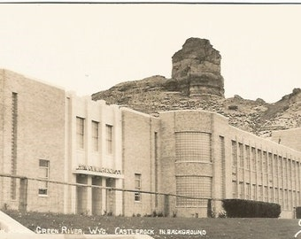 School, Green River Wyoming Castle Rock In Background Real Photograph Vintage Postcard
