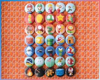 "35 Mario Bros Pins. 1"" Original Nintendo Party Favors. Luigi, Princess, Toadstool + (bv006a) Super Mario Brothers 1 Pinback Buttons"