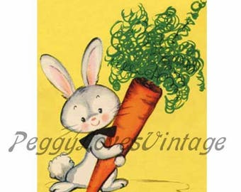 Easter 10 a  Bunny and His Carrot a Digital Image from Vintage Greeting Cards - Instant Download