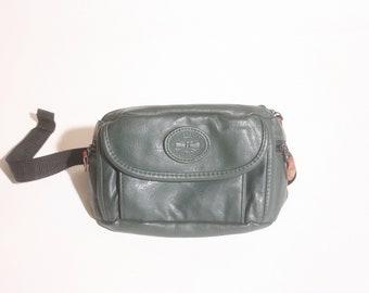Vintage 1990s Forest Aspen Woods Leather Pocketed Tandem Adjustable Fanny Pack