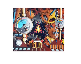 Time Machine #2// Oil on Canvas//20x24//Time Machine Painting//men//women//living room//bedroom//gift//surrealism//