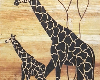 A unique hand painted Papyrus artwork with Giraffe mother and calf