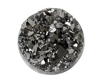 10 Round Resin Metallic Dark Silver Grey DRUZY CABOCHONS, 12mm, gunmetal faux druzy cabochons, cab0195a