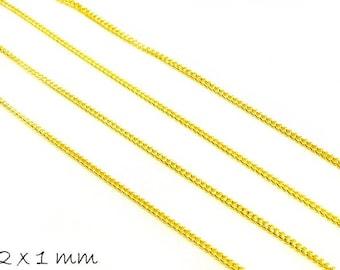 Link chain golden, fine, 2 x 1 mm